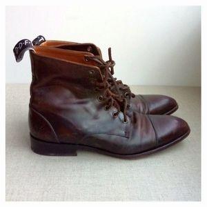 John Fluevog US M8 Brown Leather Lace-Up Boots